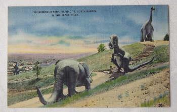 Linnen Dinosaur Postcard