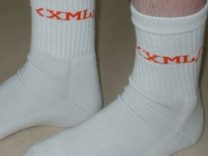 Mr Gnoe wearing xml socks