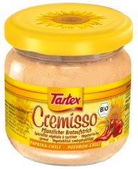 A jar of Cremisso sandwich spread paprika-chili (Tartex)