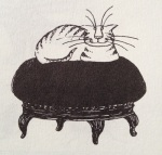 Drawing of cat on sofa by Edward Gorey